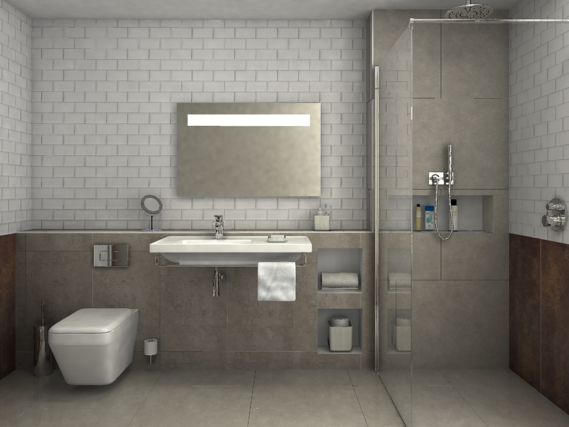 Shower And Toilet, Designed In Virtual Worlds
