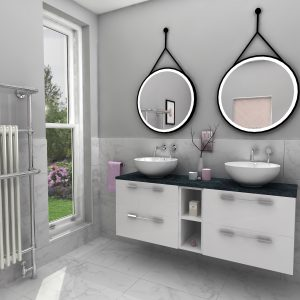Pink Bathroom 1 - designed for Tytherleigh Bathrooms