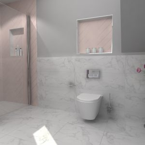Pink Bathroom 3 - designed for Tytherleigh Bathrooms